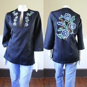 Vtg 70s Embroidered Boho Tunic Top M